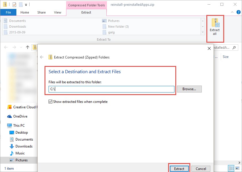 Windows 10: Extract to main disk How to Reinstall / Restore Preinstalled Windows Apps