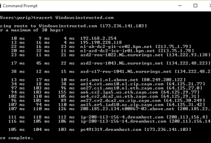 How to Run a Traceroute on Windows: Successful result