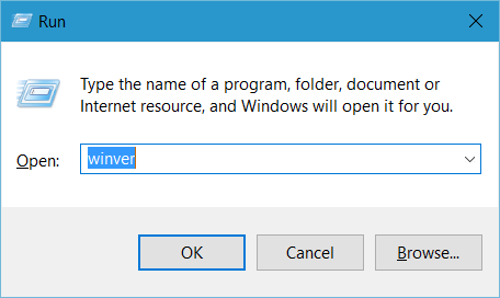Run WinVer How to Find the Windows 10 Build Number