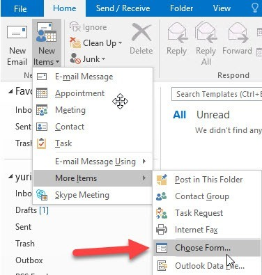 Outlook 2016: Choose Form How-to: Creating Email Templates in Outlook 2016 Email Templates