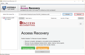 "click ""Recover"" Safest Way to Recover Corrupt Access Database File & Deleted Records"