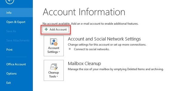 Add Account Import MBOX to Outlook 2016, 2013, 2010 PST Manually - Instant Way Import MBOX to Outlook 2016, 2013, 2010 PST Manually - Instant Way
