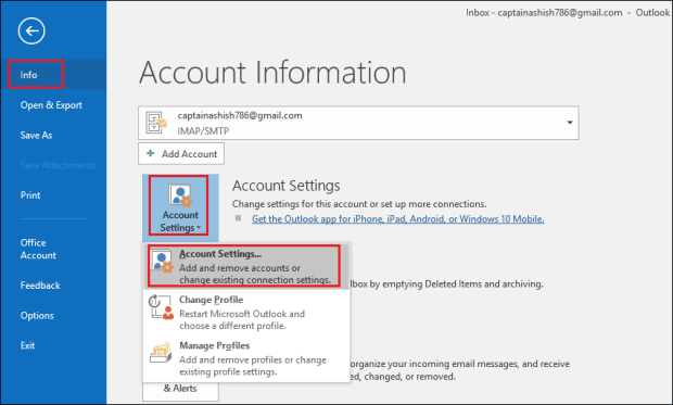 choose Account Settings How to Compress or Compact Archive PST File in Outlook – Advance Guide