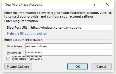 Memasukkan informasi login ke WordPress