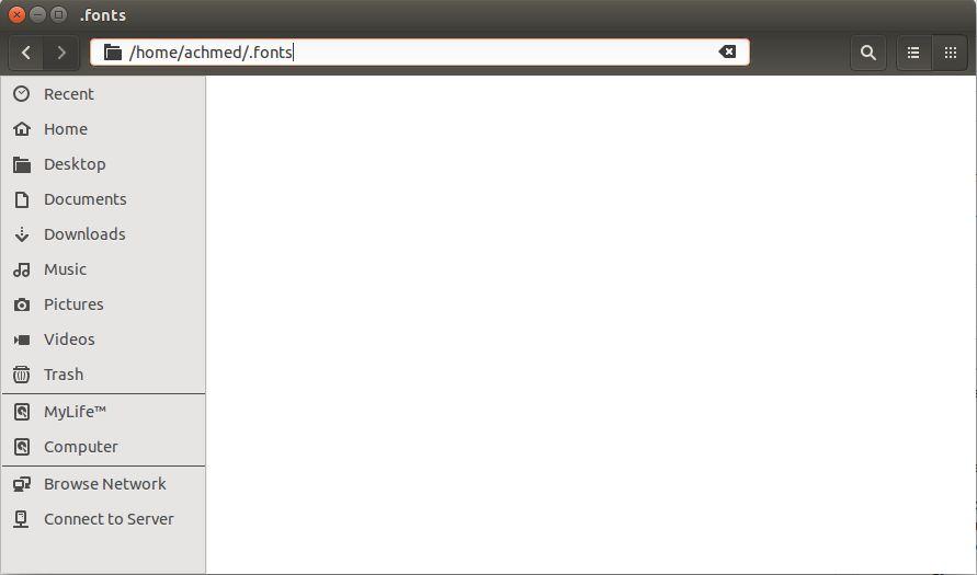 Mengakses Folder Fonts Ubuntu