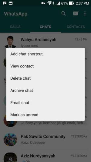 Menambah Shortcut Orang Yang Sering Di Whatsapp