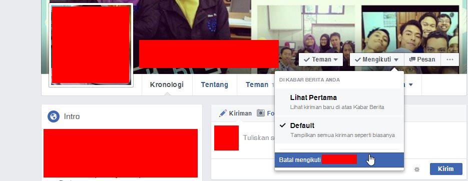 Unfollow Teman Di Facebook