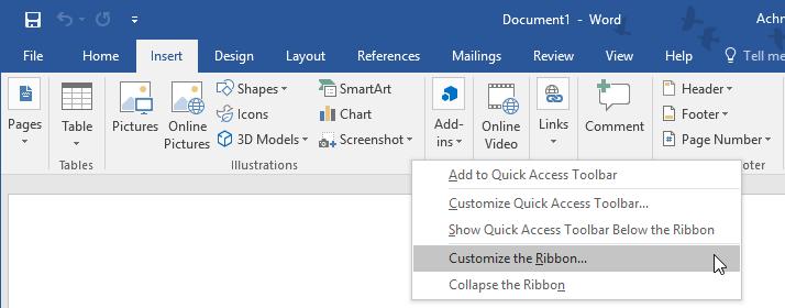 Customize The Ribbon Microsoft Word