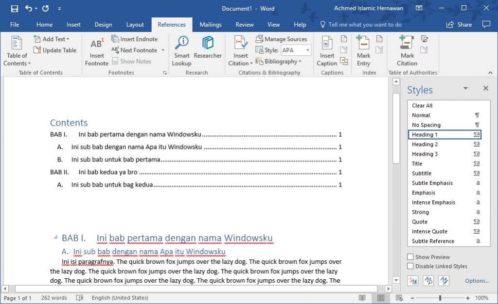 Hasil Daftar Isi Otomatis Microsoft Word