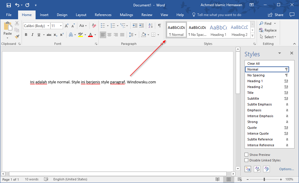 Style Normal Microsoft Word