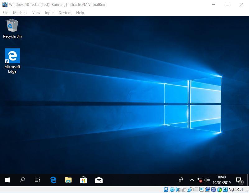 Keadaan Windows 10 Setelah Snapshot Virtualbox
