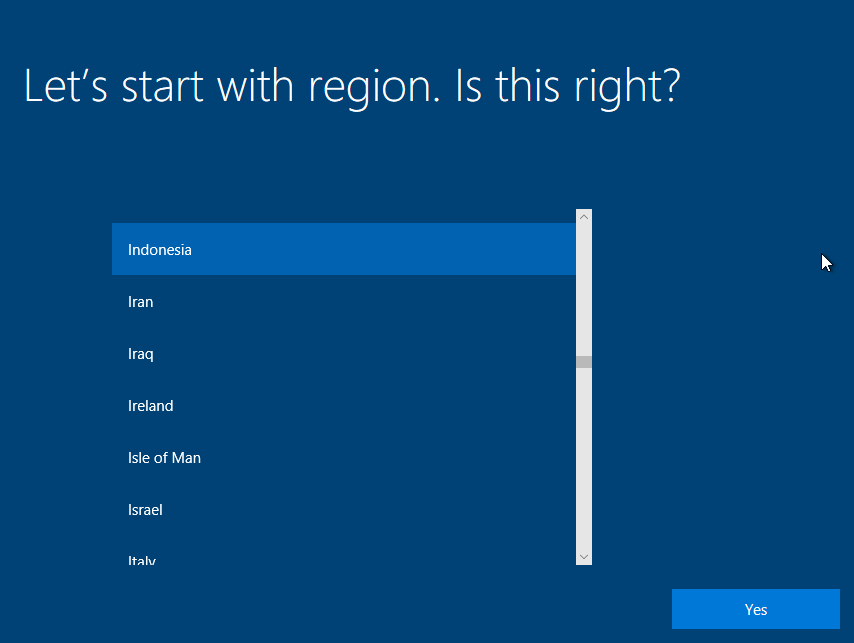 Memilih Region Instalasi Windows 10 Virtualbox