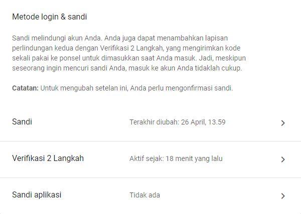 Metode Login Sandi Google Account 2