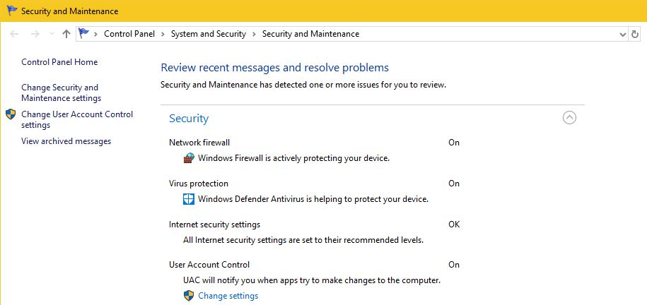 Pengecekan Security And Maintenance Windows