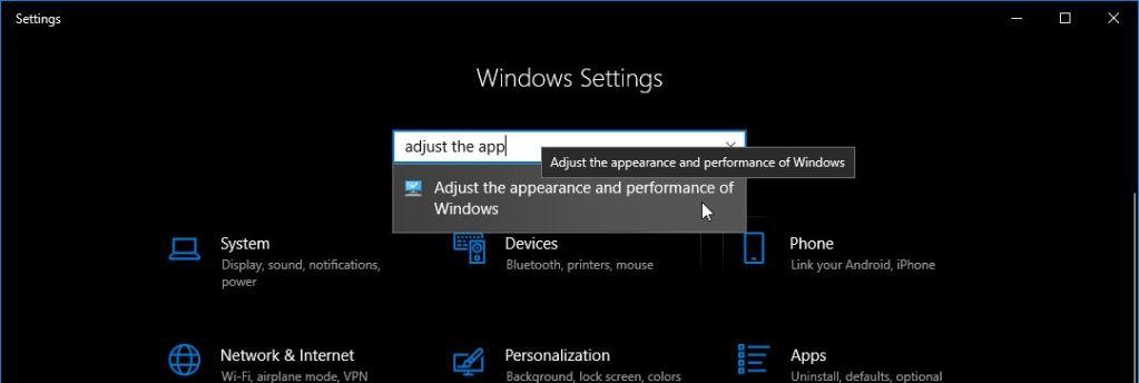 Cari Adjust The Appearance Settings Windows 10