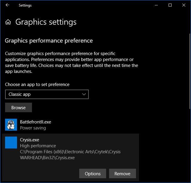 Graphics Settings Windows 10