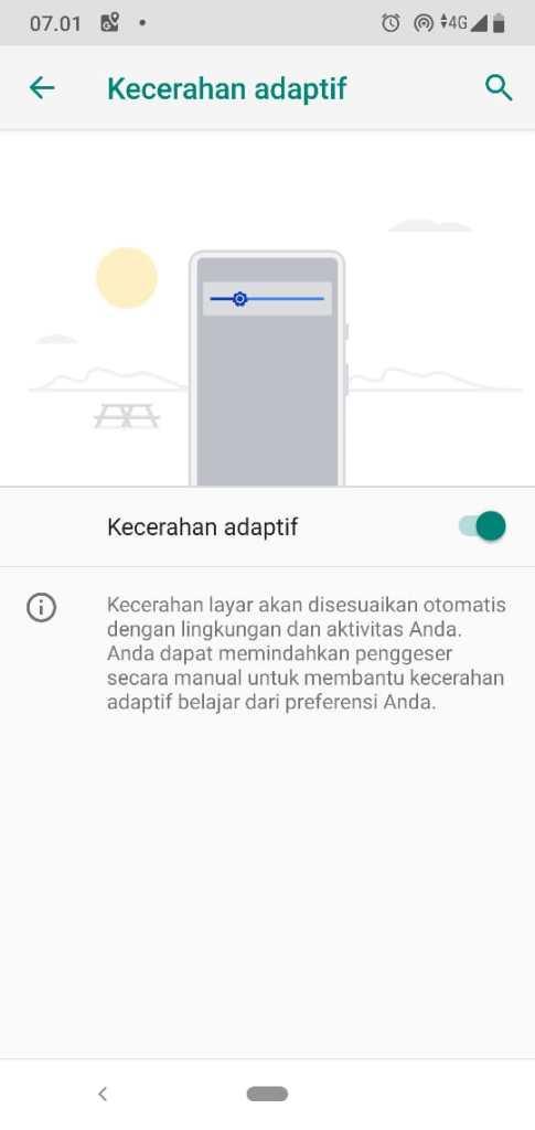 Kecerahan Adaptif Adaptive Brightness Android