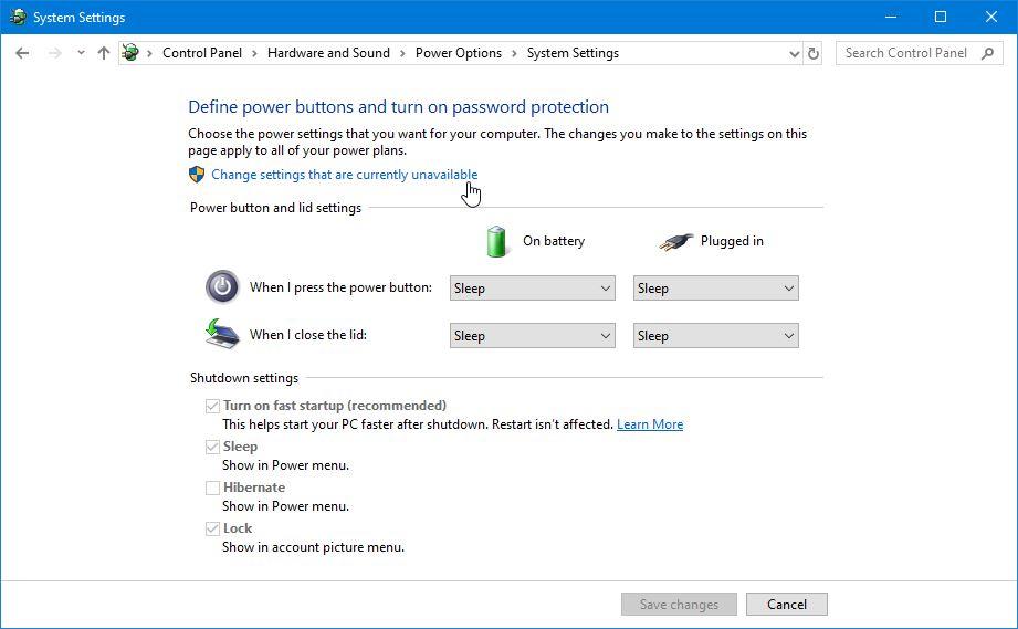 Pengaturan Power Button Windows 10