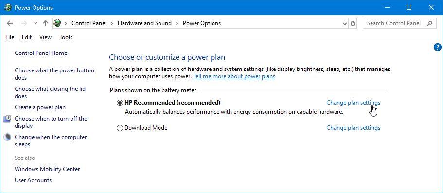 Tombol Change Plan Settings Power Options Windows 10