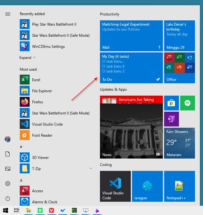 Start Menu Microsoft To Do