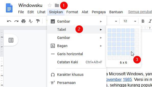Menambahkan Tabel Ke Google Docs