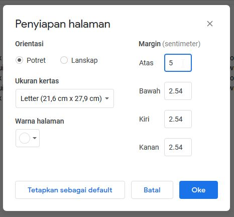 Pengaturan Margin Google Docs