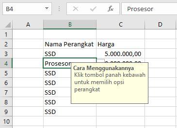 Pesan Di Dropdown Excel