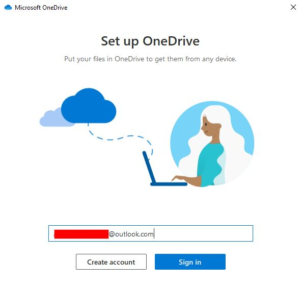 Masukkan Email Onedrive Windows