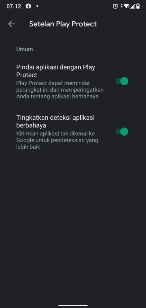 Setelan Google Play Protect