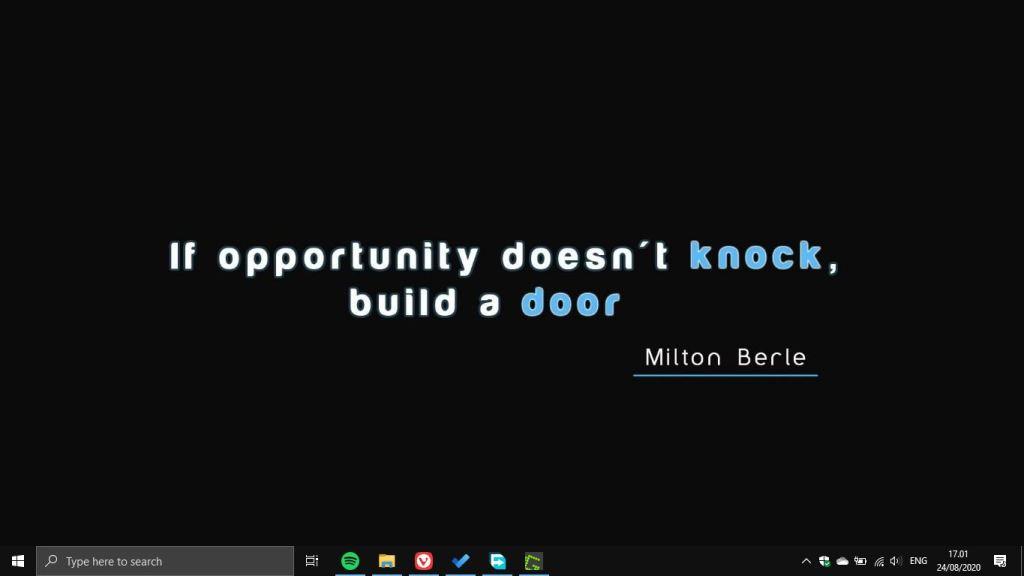 Windows 10 Desktop Dengan Wallpapaer Quote Tanpa Shortcut