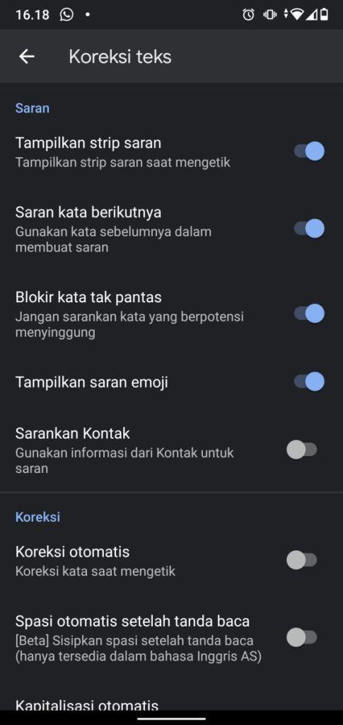 Koreksi Teks Android