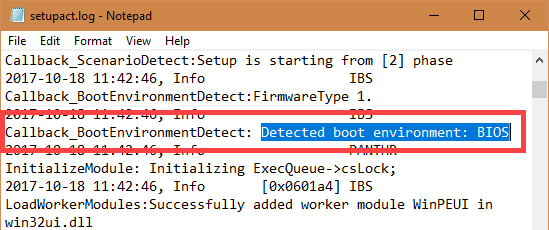 Your detected Boot Environment