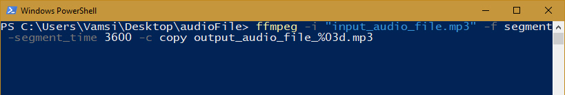 Split Mp3 Files With FFmpeg - Execute Command