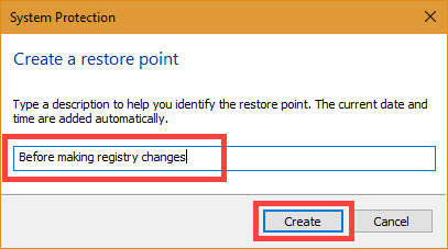 Enter a meaningful restore point description