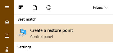Search for create a restore point in start menu
