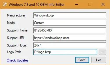 Change OEM Information In Windows