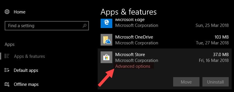 Reinstall Windows Store - Click on the advanced options link