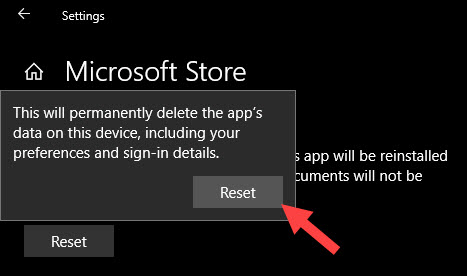 Confirm store app reinstallation by clicking on the reset button again