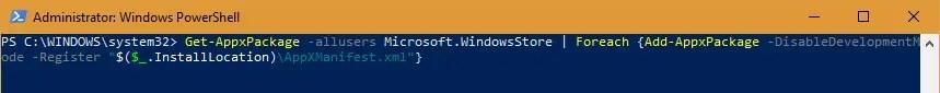 Reinstall Windows Store Powershell Command