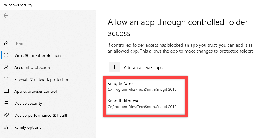 Windows 10 ransomware protection - app added from recent list