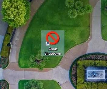 Cancel shutdown - icon added to shortcut