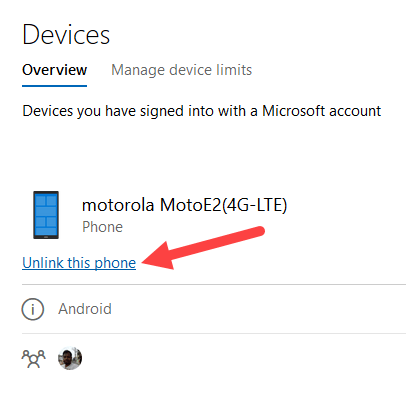 Link android to windows 10 - click unlink link