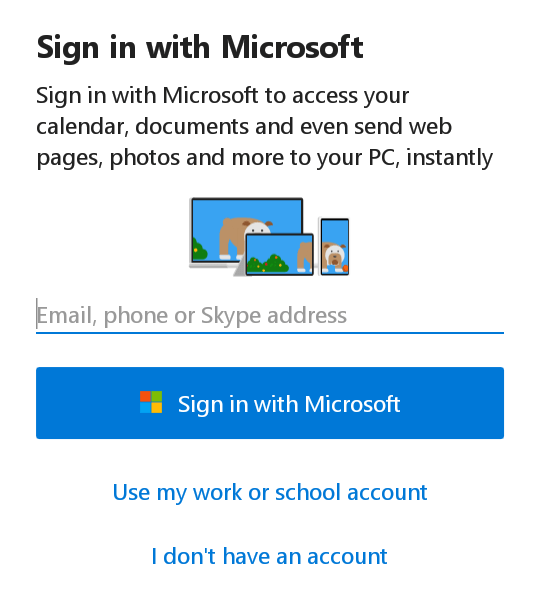 Link android to windows 10 - sign in with ms account