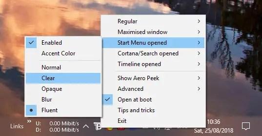 Translucenttb mode selection