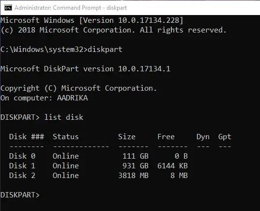 Format usb drive cmd list disk