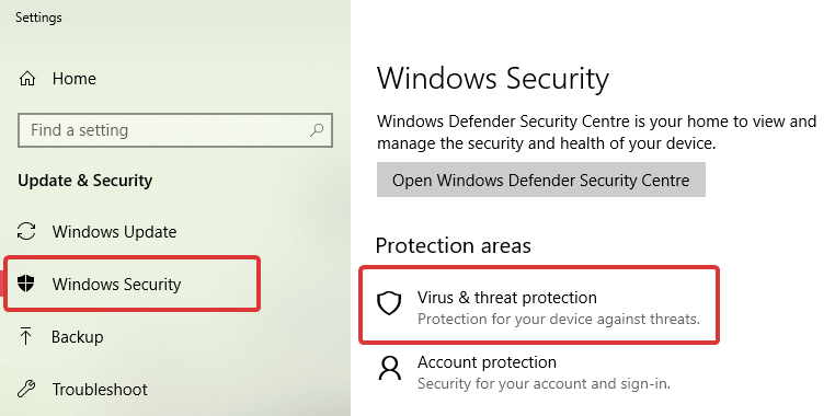 Windows defender click virus and threat protection