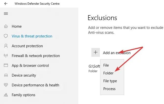 Windows defender select folder exclusion