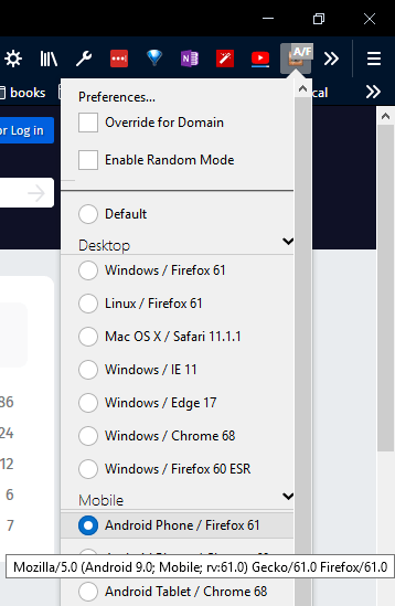 Select android user agent in firefox