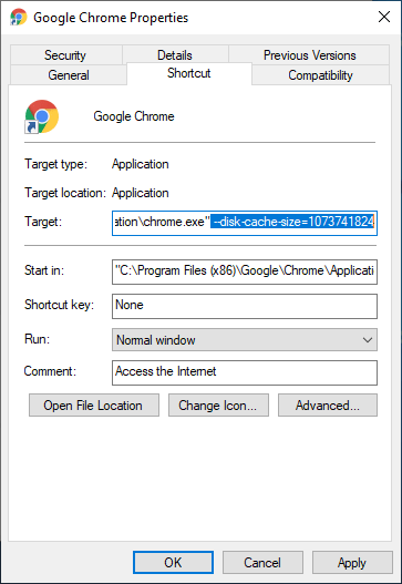 Chrome add disk cache size flag