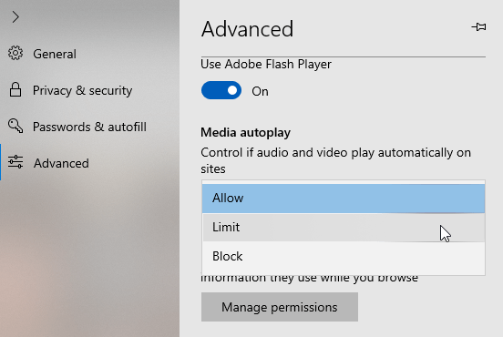 Video autoplay edge win10 select block under media autoplay